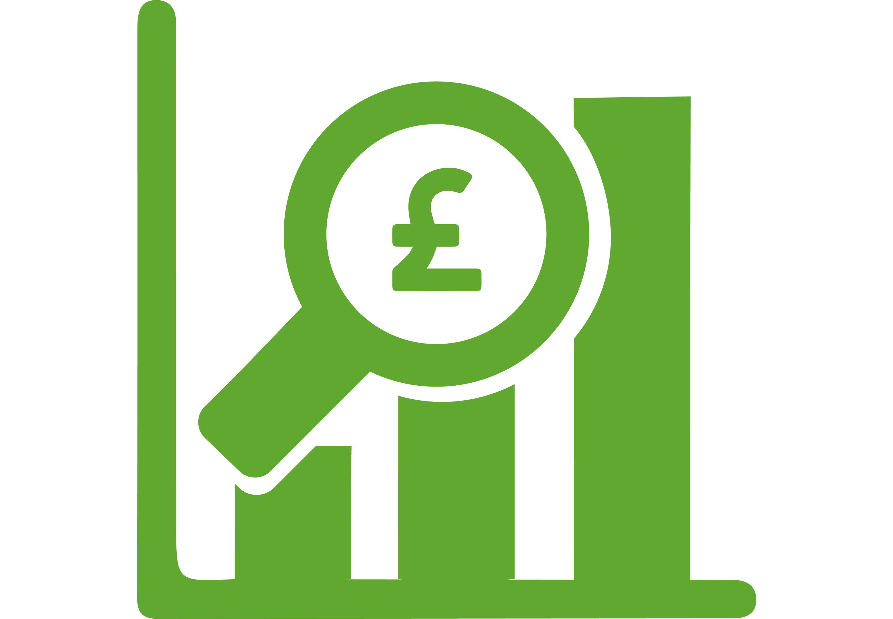 Finance at DES MOD - green icon graph with magnifying glass