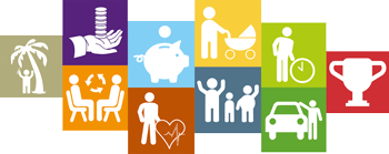 colourful icons representing DE&S employee benefits