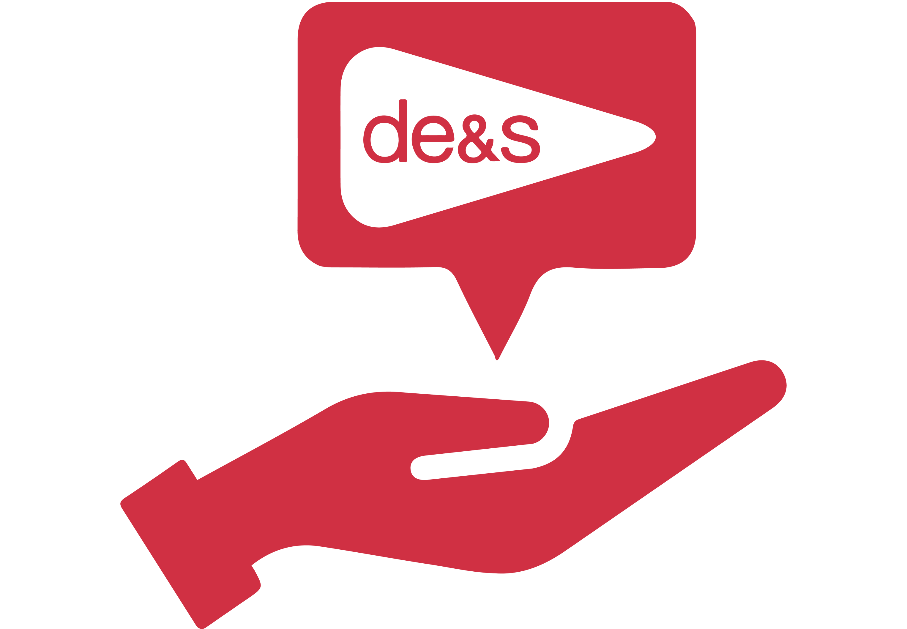 Red logo showing a hand holding a speech bubble with the DE&S logo in it