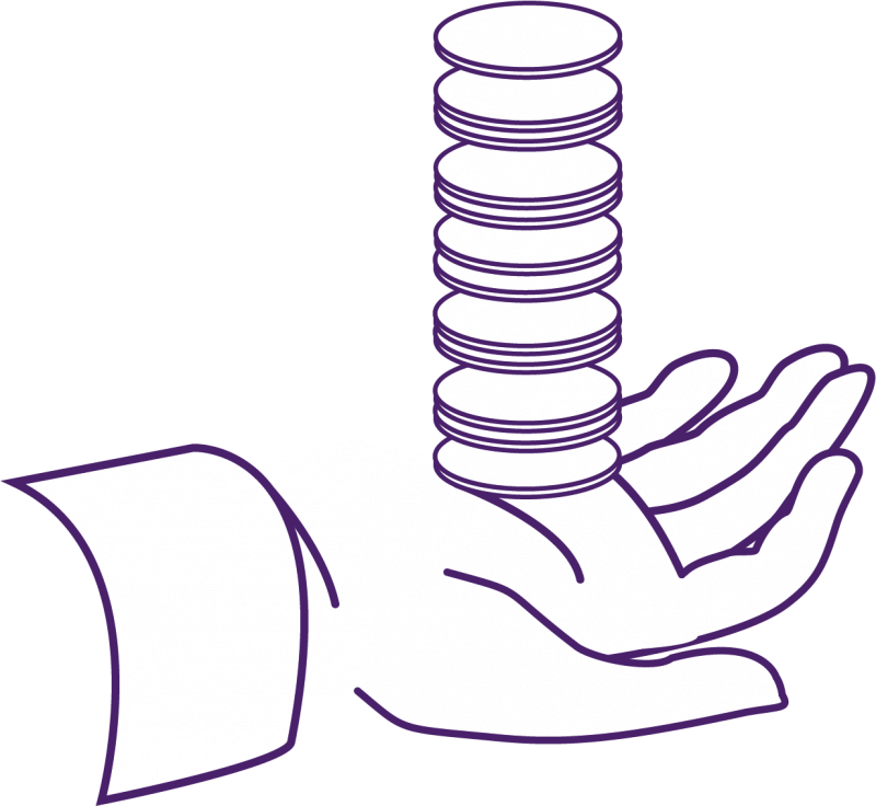 hand with coins icon representing discounts MOD benefits