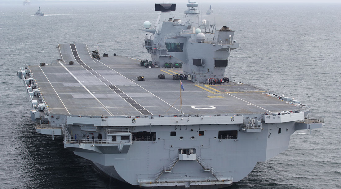 qe class carrier at sea