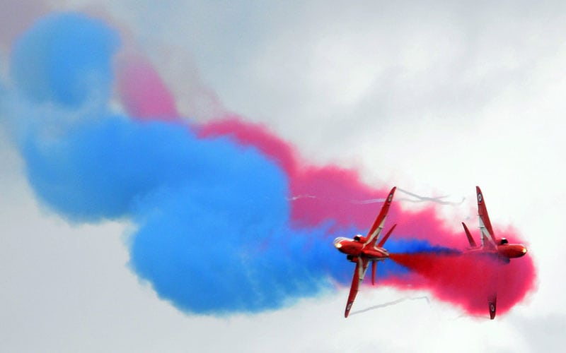 engineering at de&s red arrows with blue and red smoke