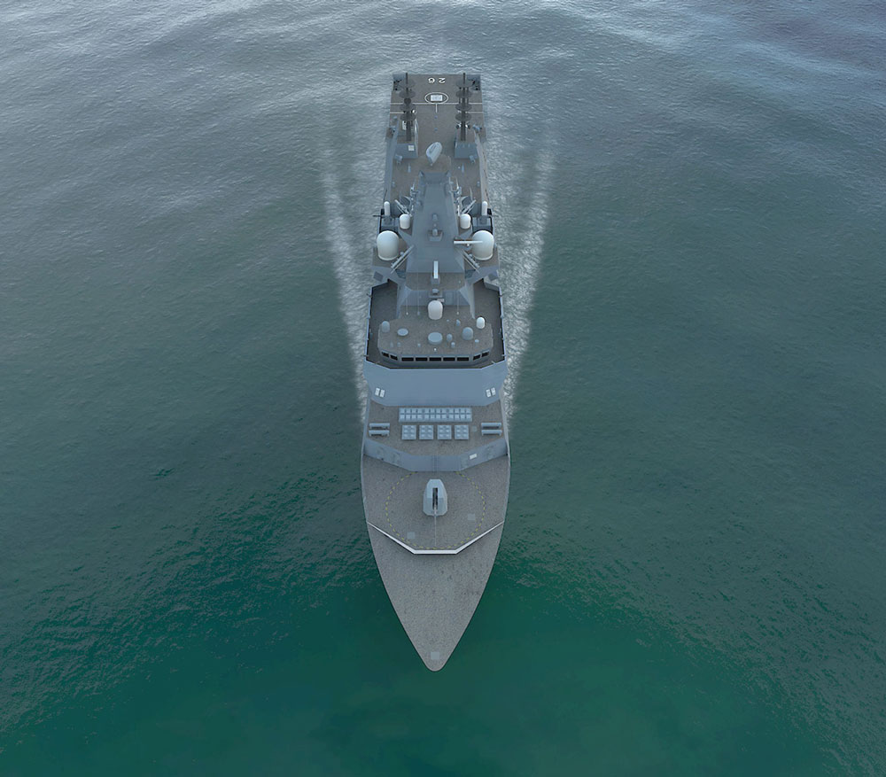 aerial view of grey navy ship in calm seas
