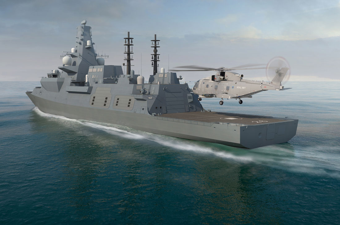 computer generated image of large grey ship with helicopter landing on the rear