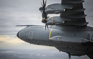 a400m raf plane in the sky turning