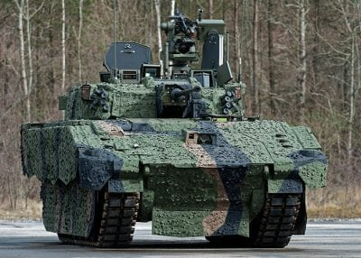 ajax army vehicle in camouflage