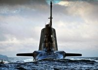 astute submarine appearing out of the sea