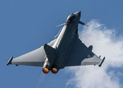 raf typhoon aircraft taking off