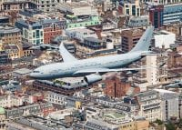 voyager raf aeroplane flying across london