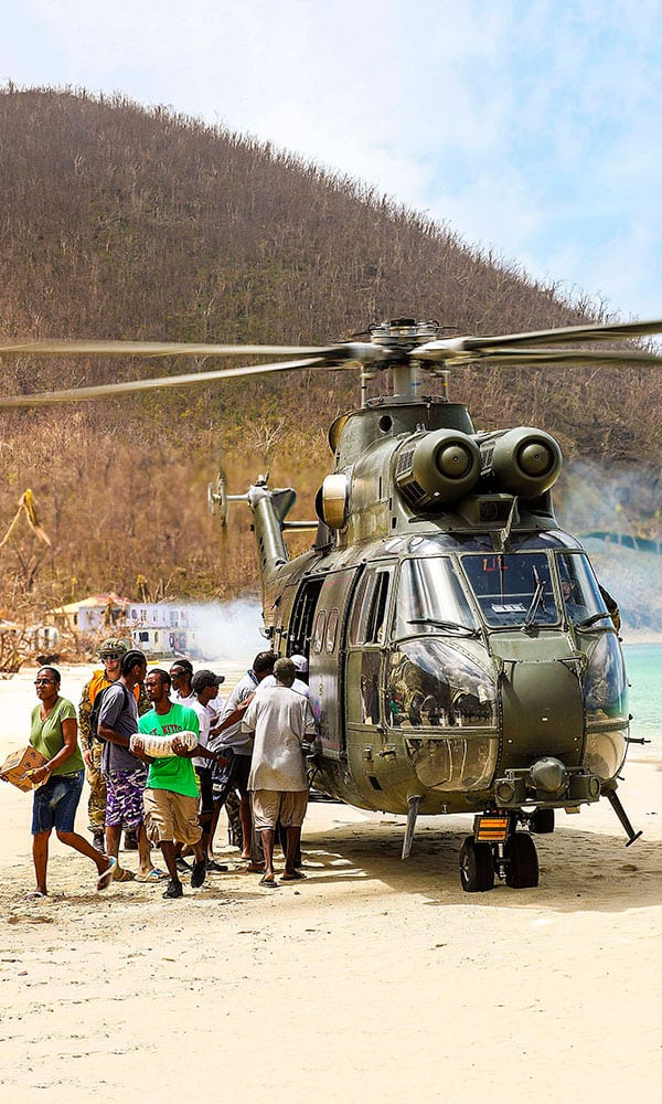 Hurricane Irma relief RAF helicopter gives aid