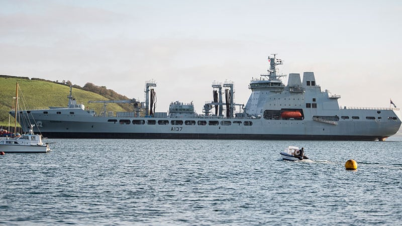 rfa tiderace at sea arriving in cornwall in the sunshine