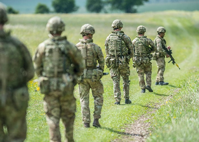 british army on exercise using virtus kit