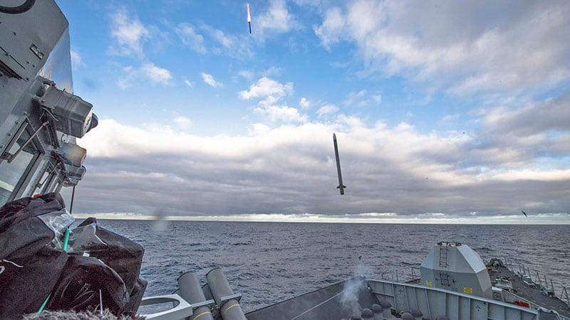 Sea Ceptor live firing at sea