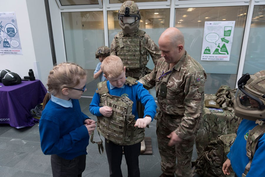Leaders Award - Primary school child trying on army kit