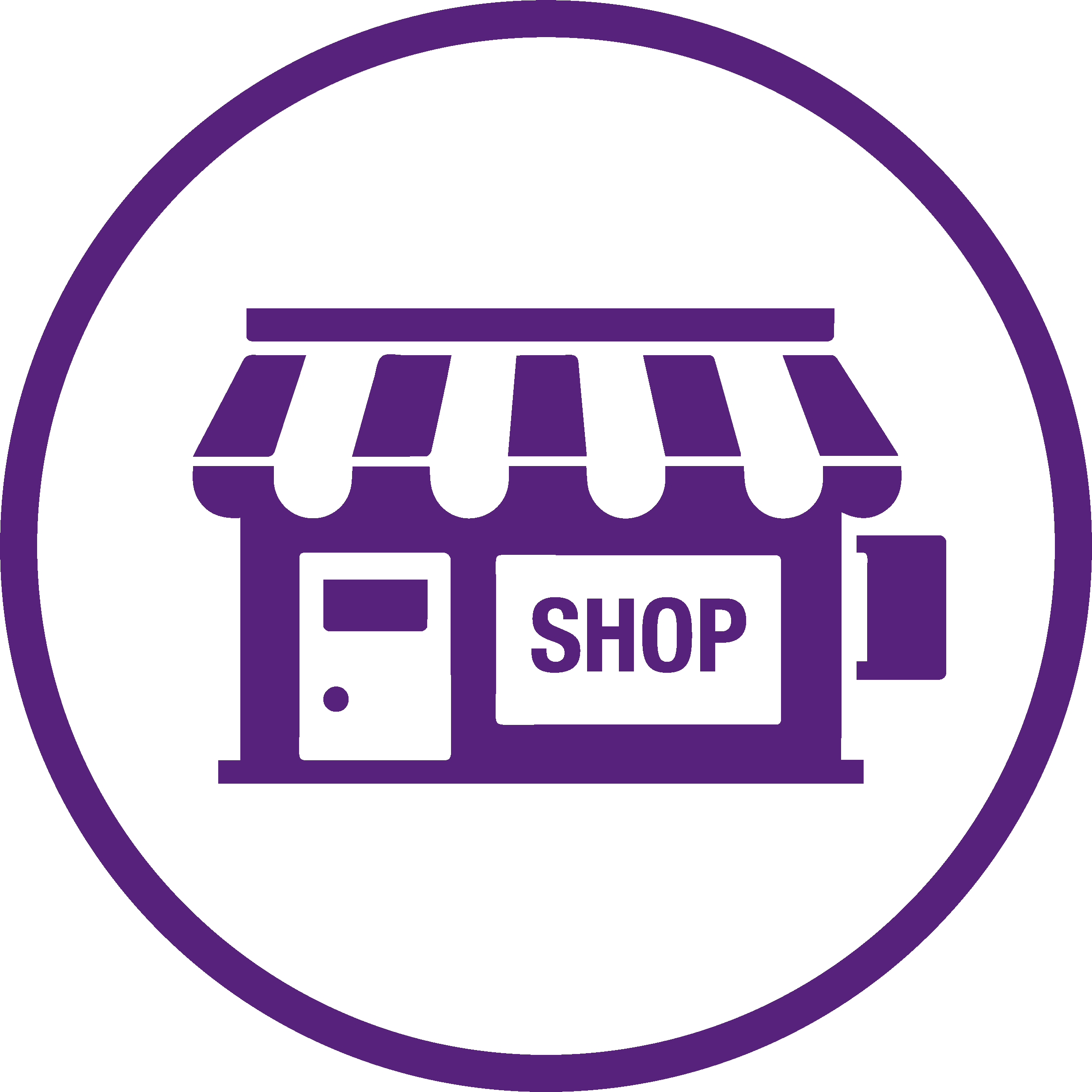 purple logo of a shop