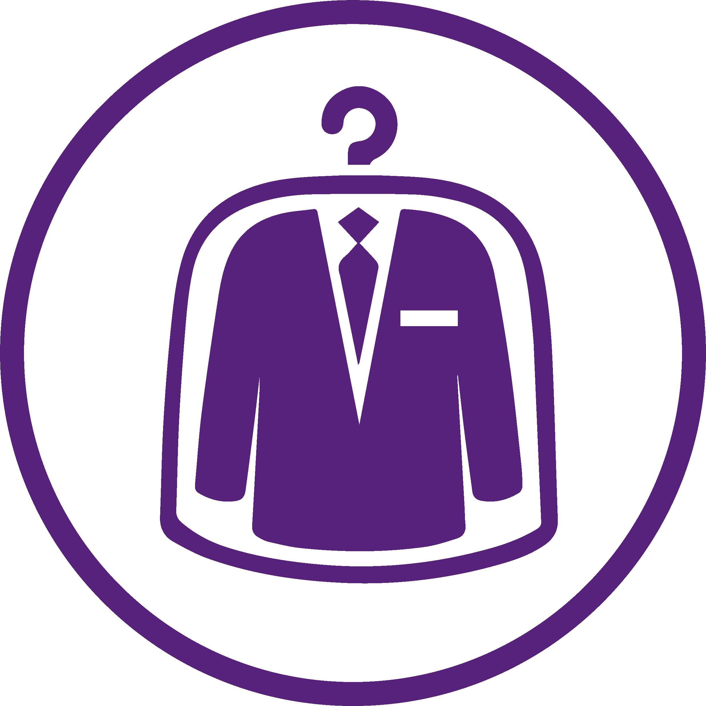 purple logo of dry cleaned clothes