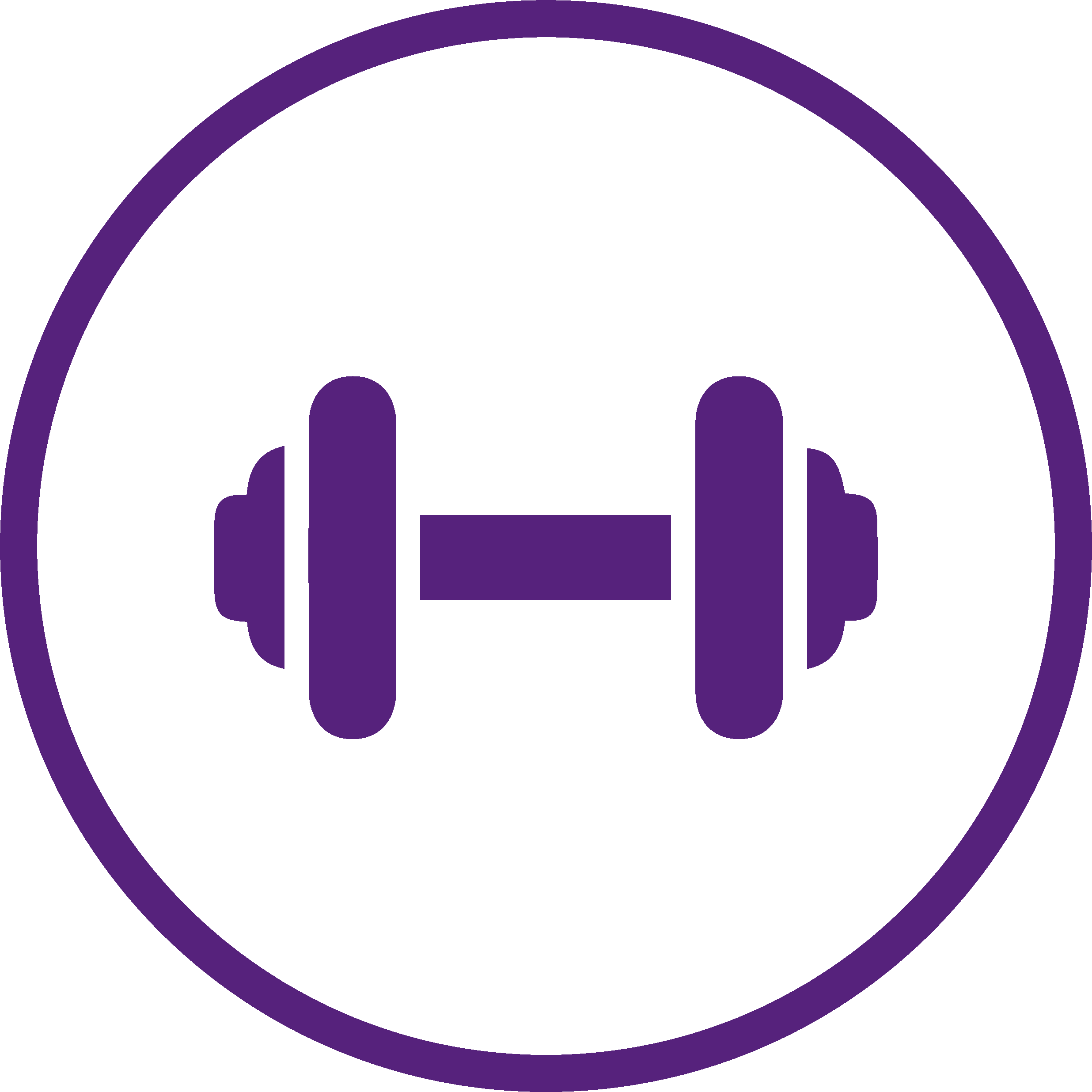 purple logo of a gym dumbell