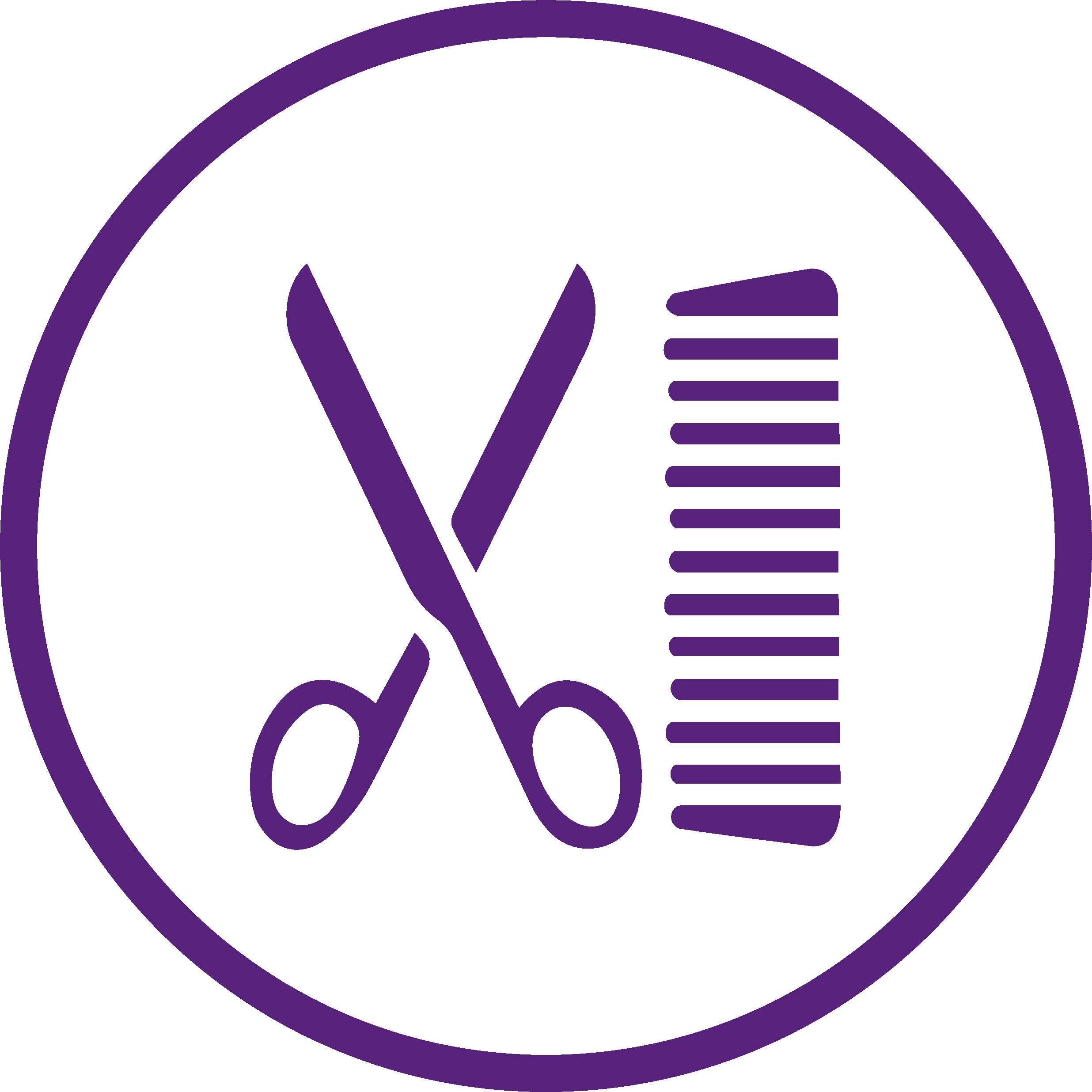 purple logo of scissors and comb