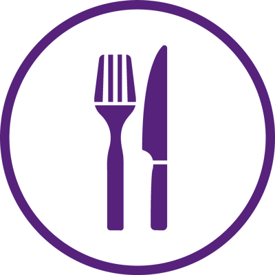 purple logo of knife and fork