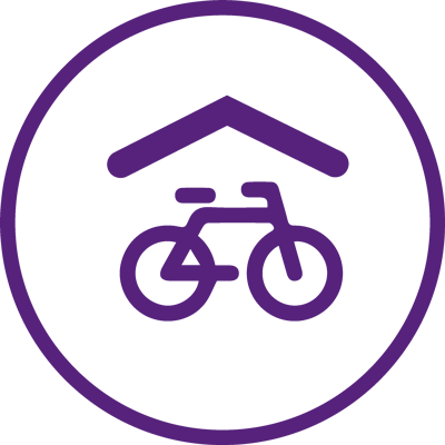 purple logo of a bike