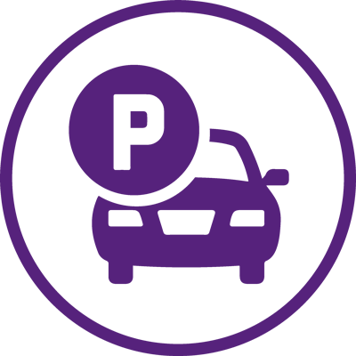 purple logo of a car