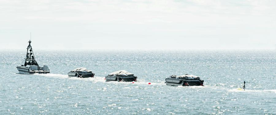 Royal Navy minesweeper on trials at sea