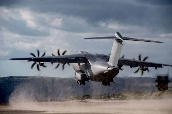 Royal Air Force Atlas A400M beach landing trials