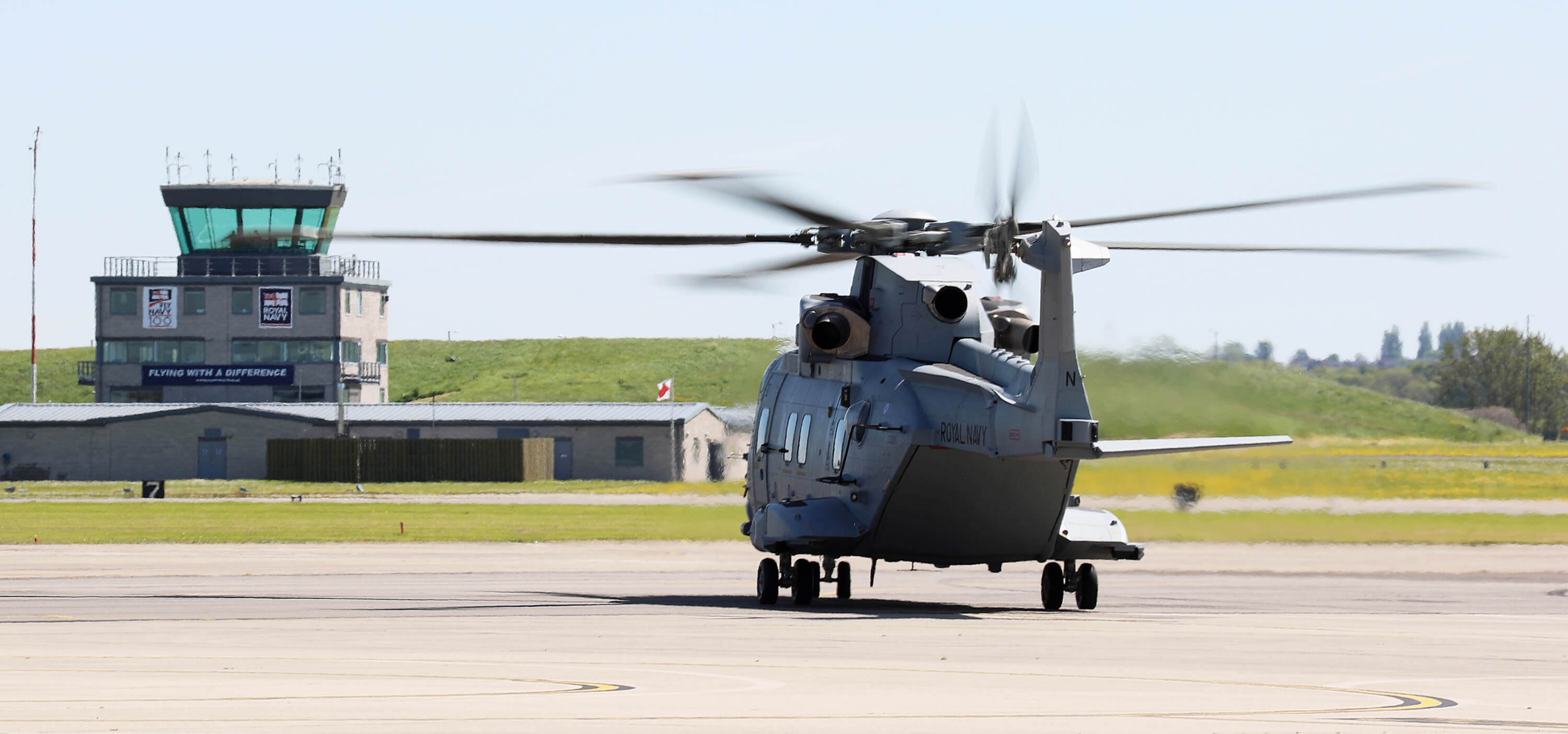 The Merlin Mk4 on RNAS Yeovilton's airfield.
