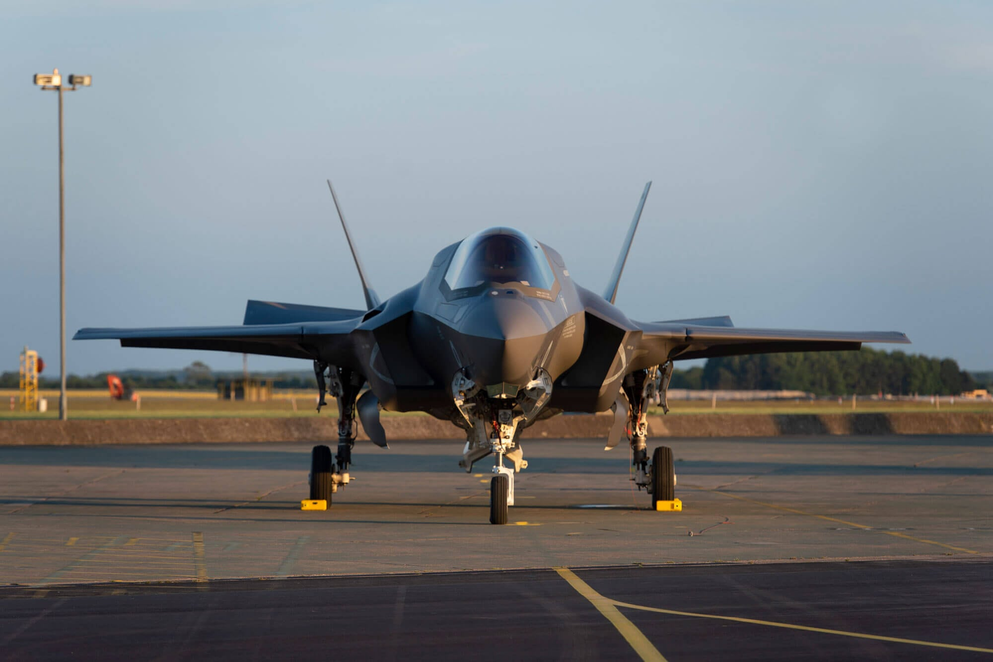 F-35 secured on ground
