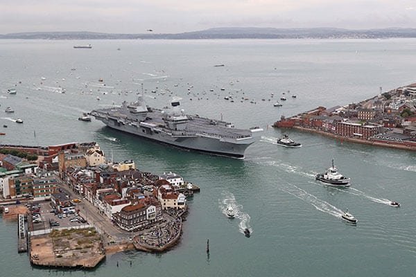 Queen Elizabeth Class carrier to illustrate a graphic designer position at DE&S MOD