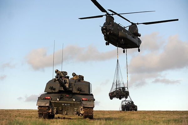 British Army tank and chinook
