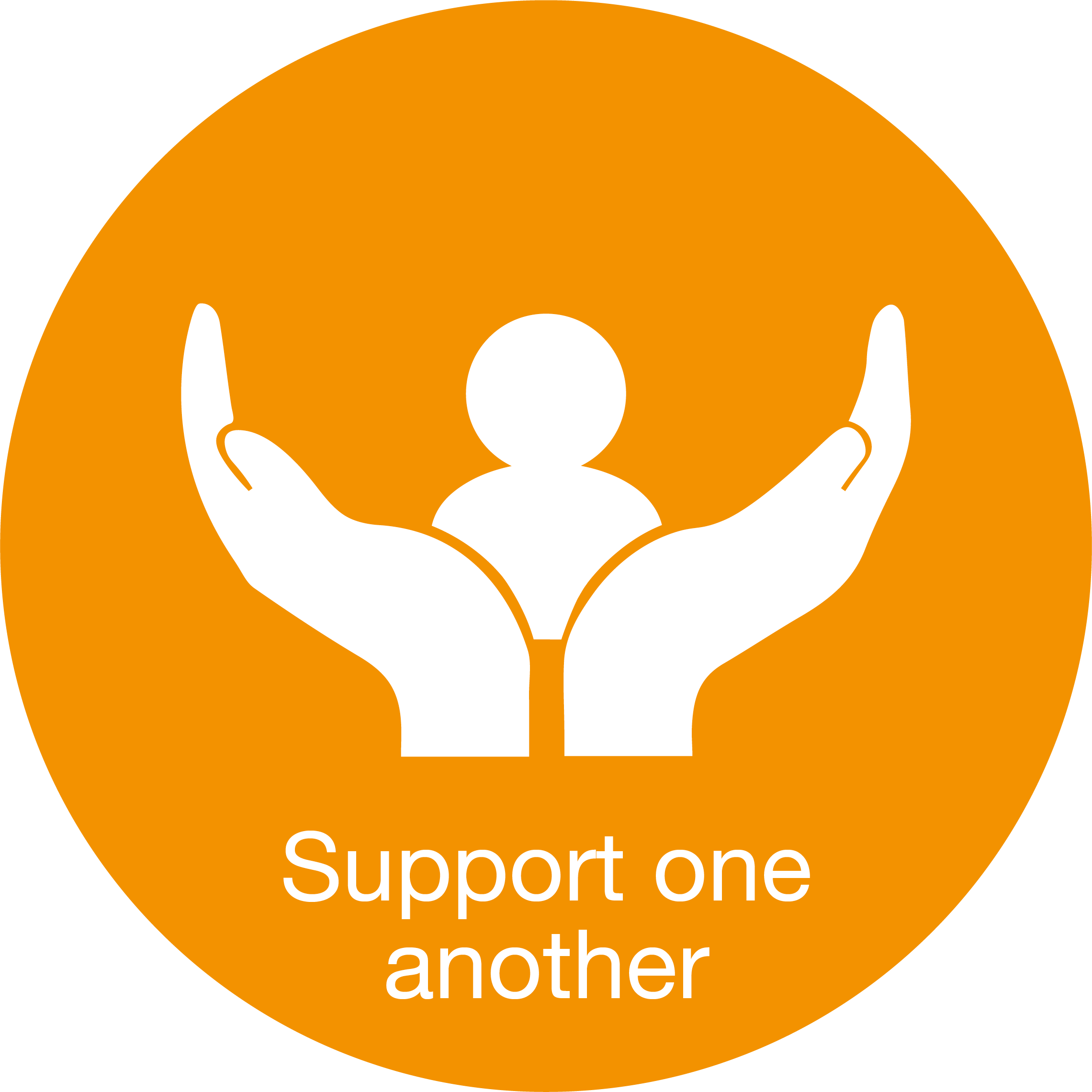 "An orange logo showing cupped hands saying ""support one another"""