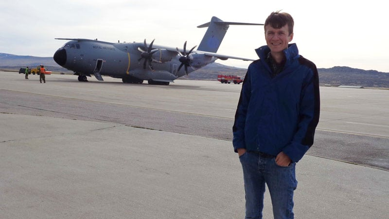 Christian with an A400M as a backdrop.