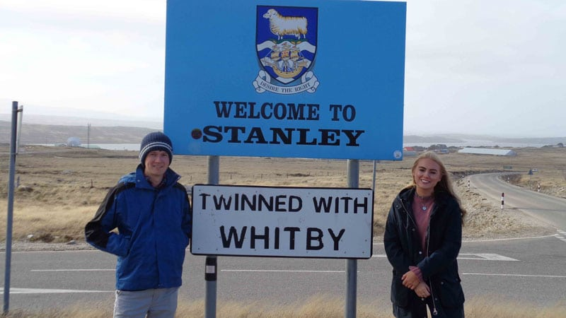 Welcome to Stanley sign in the Falklands