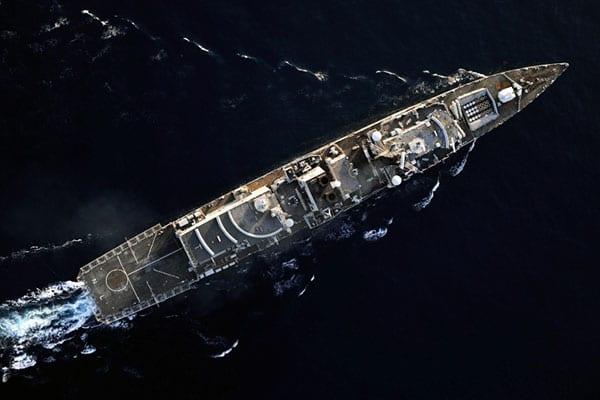 Navy ship birds eye view