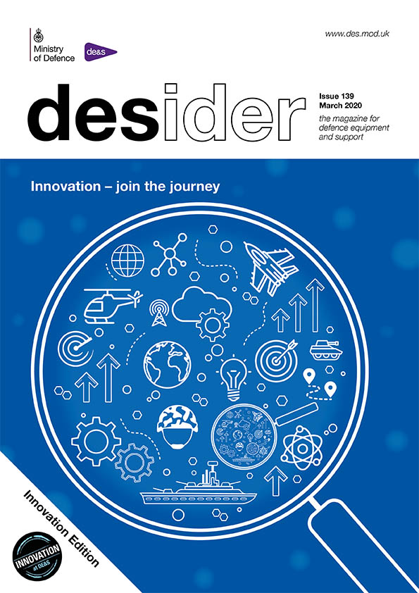 Front cover for the March 2020 Desider magazine, showing a magnifying glass with illustrions of planes, clouds and cogs inside