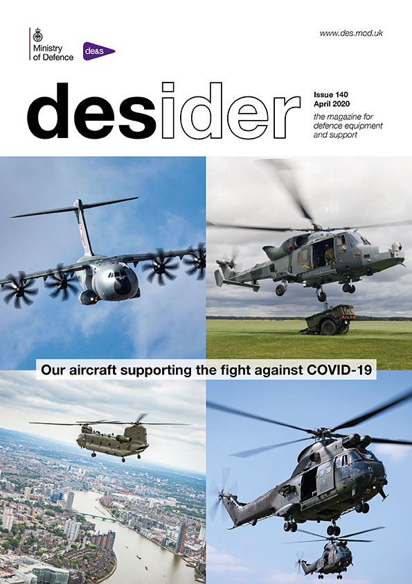 Front cover of the April 2020 Desider magazine which is split into four segments, showing a large plane, and three helicopters