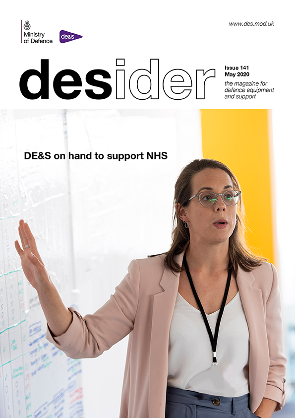 Front cover of May 2020 edition of Desider magazine showing a young woman wearing glasses, explaining something on a board behind her