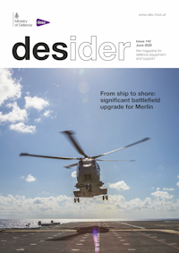Front cover of June 2020 edition of Desider showing a hovering helicopter above the deck of an aircraft carrier
