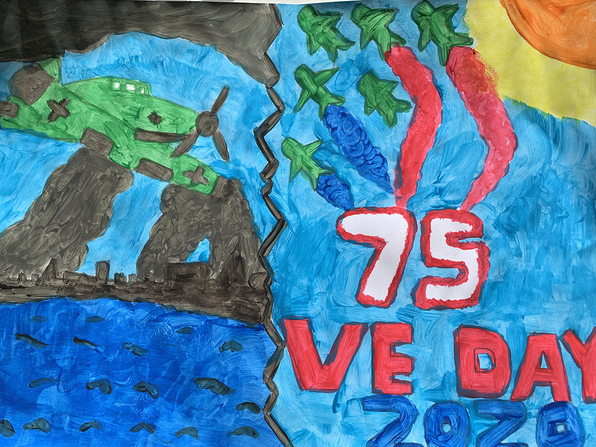 A colourful poster drawn by a young child to celebrate VE Day 75
